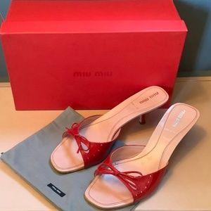 Miu Miu Red Patent Kitten Heels